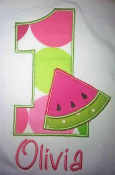 Watermelon Birthday Number Shirt or Onesie by OhSewSweetEmbroidery, $20.00