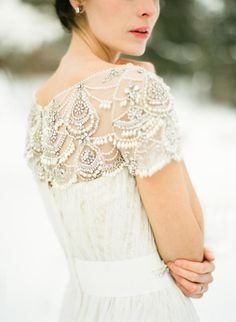 Snow-Filled Winter Wedding Inspiration | Marchesa gown
