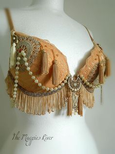 Exotic Peach, Gold & Cream bra - Burlesque, Faerie, Belly Dance, Steampunk, Tribal Fusion, ATS.. £46.80, via Etsy.