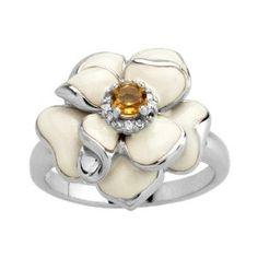 Silver Citrine with White Enamel Diamond ring $59