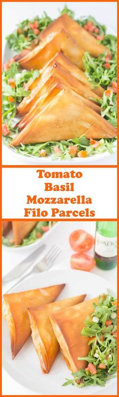 Tomato basil mozzarella filo parcels are a delicious healthier version of Empanadas. All the classic flavours you would expect from a tomato basil mozzarella Empanada but with less calories and fat! via @neilhealthymeal