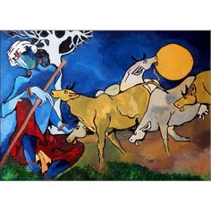 Krishna A Cowherd - X (Border Paresh More,Lord Krishna,Gopal - Buy Online painting in india Famous Artists Paintings, Indian Art Paintings, Modern Art Paintings, Modern Indian Art, Indian Folk Art, Ganesha Art, Krishna Art, Mf Hussain Paintings, Krishna Painting