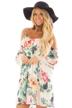 2f11f5805a4f4f Lime Lush Boutique - Ivory Floral Print Dress with Cold Shoulders