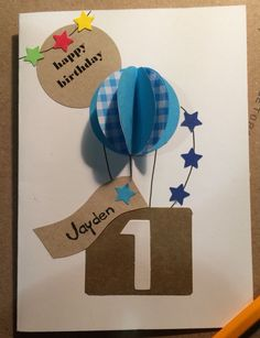 New baby boy birthday card for kids 52 ideas Baby Birthday Card, Homemade Birthday Cards, Birthday Cards For Boys, Bday Cards, 1st Boy Birthday, Happy Birthday Cards, Homemade Cards, Happy 1st Birthdays, Kids Cards