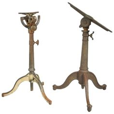Pair of Cast Iron Articulating Drafting Table Bases Industrial Furniture, Vintage Industrial, Antique Furniture, Cool Furniture, Modern Furniture, Table Bases, Vintage Table, Wood Projects, Fashion Art