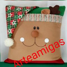 Christmas Crafts, Christmas Ornaments, Ideas Para, Snowman, Sewing Projects, Cushions, Embroidery, Holiday Decor, Diy