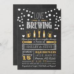 Love is Brewing Bridal Shower Invitation Couples Wedding Shower Invitations, Gold Invitations, Custom Invitations, Invites, Wedding Sets, Wedding Couples, Mini Liquor Bottles, Shower Inspiration, Chalkboard Wedding