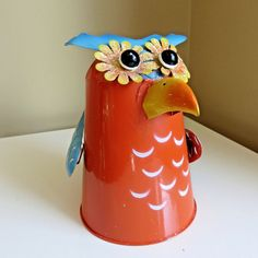 Metal Coo-Coo Bird Watering Can Garden Yard Home Decor Patio  9 in. T New  #Unbranded