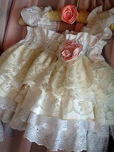 Flower Girl Ruffled vintage Lace dress...wedding by Babybonbons, $79.00
