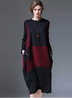 Robes Décontracté Bloc de couleur/Charte des couleurs Polyester Viscose Manches longues Mi-longue (1026506)