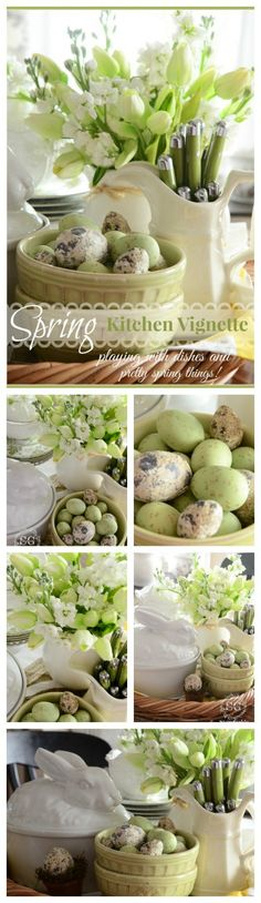 SPRING KITCHEN VIGNETTE-lots of beautiful ideas that are easy to do-stonegableblog.com