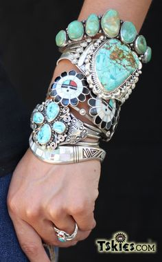 Native American Jewelry bracelets #turquoisejewelry #Sterlingsilver #bracelets http://tskies.com