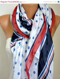 Spring Polka dots Cotton Scarf Summer Oversized Wrap by fatwoman