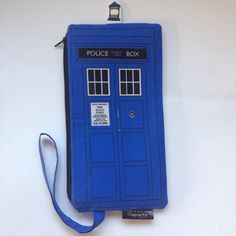 Doctor Who TARDIS police box Zipper Wristlet Bag Notion Knit Crochet Embroidery Gift Travel Organize Supply Pencil Pen by DagmarEir on Etsy