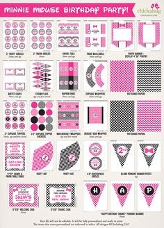 Minnie Mouse birthday party printable decor kit - Over 45 pages of fun printables from Chickabug, in hot pink or red!