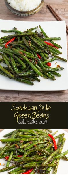Szechuan Style Green Beans - Salu Salo Recipes- This Szechuan Style Green Beans recipe is easy to make. The green beans were delicious and crunchy, with a little bit of kick to it. Healthy Recipes, Veggie Recipes, Vegetarian Recipes, Cooking Recipes, Eat Healthy, Asian Food Recipes, Green Vegetable Recipes, Szechuan Recipes, Noodle Recipes