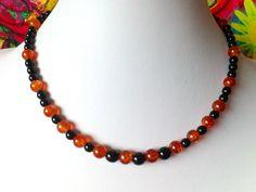 Ketten kurz - OktoberNacht Glasperlenkette schwarz orange - ein Designerstück von Kreativ-Werkstatt-Heidi-H bei DaWanda