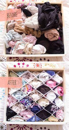 何もせずにいると、ごちゃごちゃになってしまう下着や靴下、ストッキングなどは、このように仕切りを入れて収納すると、一つずつきれいに収まりますね。