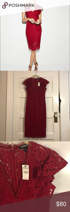 Valentines Day EXPRESS Red Lace midi dress size 0 Really beautiful red lace midi dress. Never been worn. Ruffle shoulder details- perfect for Valentine's Day. Size 0. Express Dresses Midi