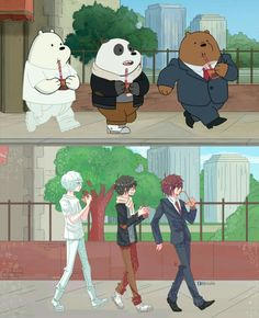 What if we bare bears IS an anime OwO Anime Vs Cartoon, Cartoon Shows, Cartoon Art, Images Disney, Disney Art, Disney Pixar, Cartoon Characters As Humans, Anime Characters, We Bare Bears Human