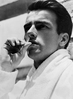 Montgomery Clift smokes on the set of A Place in the Sun, 1951
