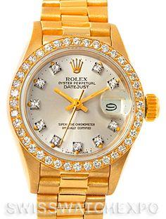 Rolex President Ladies 18k Yellow Gold Diamonds Watch 69138