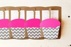 Cupcake Invitation Hot Pink and Grey Chevron by WhenItRainsShop, $20.00