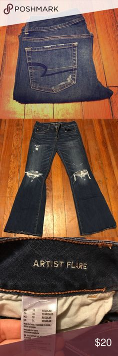 American Eagle jeans Artist Flare distressed AE jeans. Sz10 reg. Excellent condition. Worn twice! American Eagle Outfitters Jeans Flare & Wide Leg