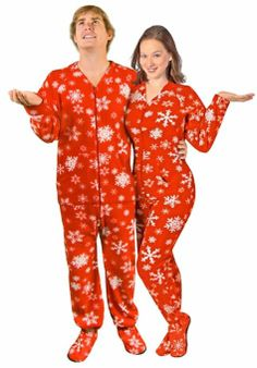 couples pajamas red snowflake footed pajamas w drop seat couple pajamas christmas holiday