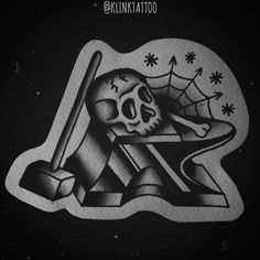 #ink #klink #vintage #tatu #tatoo #tattoo #artist #tattu #oldschooltattoo #oldschool #old #school #trad #traditional #traditionaltattoo #line #shading #black #flash #skull #hammer #anvil