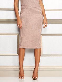 72712e13589fb Jacqui Metallic Sweater Skirt - Eva Mendes Collection