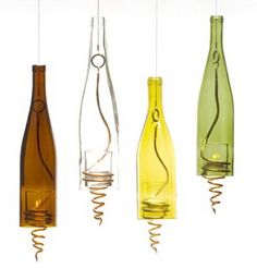 wine bottle hanging lamps!