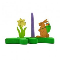 Wooden Candle Holder - Easter Bunny and Daffodil. With beeswax candle and brass candle holder. Made in Germany for Bella Luna Toys. $39.95