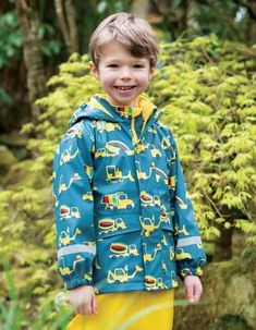 Boys Frugi Recycled Lined Coat In Blue With Truck Print - Blue Yellow Line, Thing 1, Wellington Boot, Rainbow Print, Wet Weather, Recycle Plastic Bottles, Simple Dresses, Little Ones, Rain Jacket