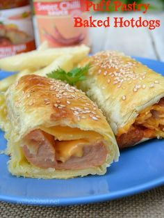 Puff-Pastry Baked Hotdogs ~ How to make Puff-Pastry Hotdogs in the oven - flaky with gooey Cheese ! AND only 3 main ingredients = perfect lunch, light dinner or snack