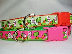 For Easter, here are two Easter bunny ears dog collars. Add one to your dog's Easter basket! You have your choice of pink grosgrain ribbon sewn to lime green nylon webbing with a pink plastic buckle or green grosgrain ribbon sewn to orange nylon webbing with an orange buckle. The buckle and nickel D-ring are triple stitched with heavy thread onto the collar for strength. At checkout, in the drop down boxes, specify size and color from the following available:
