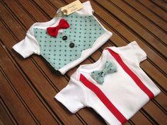 Blue Vest Onesie & Bow Tie Onesie Gift Set, Twin Onesies, Twin Boy Gift Set, Suspender Onesie, Baby Bowtie Onesie, Baby Boy Gift. $44.00, via Etsy.