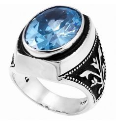 Aquamarine Stone Elegant Ring in Sterling Silver - A Fine Online Silver Men's Jewelry Store