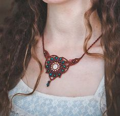 Mandala Necklace Boho red brown mandala by MacrameLoveJewelry