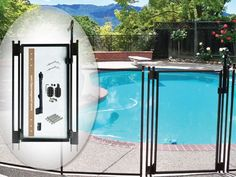 The polyvinyl basket weave is infused with top-of-the-line UV inhibitors that keep your pool fence looking great for years in all weather conditions. The safest way to close your DIY pool fence is a Tall, Self-Closing, Self-Latching Gate! Swimming Pool Stores, Swimming Pool House, Swimming Pools, Above Ground Pool Fence, In Ground Pools, West Palm Beach, Removable Pool Fence, Diy Pool Fence, Backyard Patio