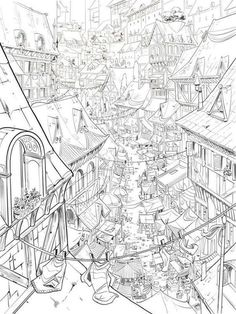 Perspective Drawing Lessons, Perspective Art, Environment Sketch, Environment Design, Cityscape Drawing, Animation Background, Landscape Drawings, Environmental Art, Fantasy Landscape