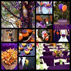 PURPLE & ORANGE Wedding inspiration by Rock your Locks http://www.facebook.com/pages/Rock-your-Locks/133025596754055?fref=ts