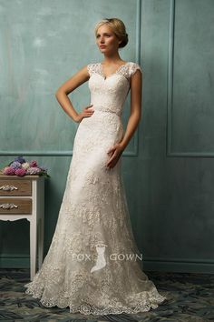 lace cap sleeve v-neck illusion back a-line wedding dress... my Wedding dress.... absolutely stunning....