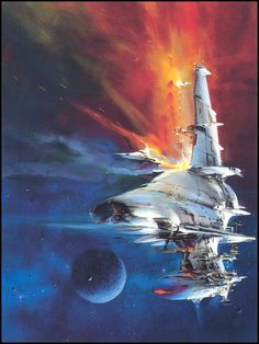 A selection of classic science fiction themed works by the renowned illustrator and painter, John Berkey. Spaceship Art, Spaceship Concept, Spaceship Design, Science Fiction Kunst, Science Art, Retro Kunst, Retro Art, Space Illustration, Illustrations