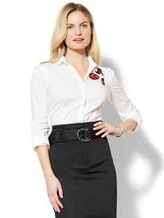 Shop 7th Avenue - Madison Stretch Shirt - Patch-Accent - White. Find your perfect size online at the best price at New York & Company.