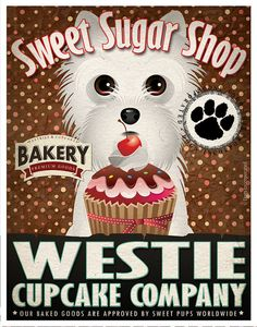 Westie Cupcake Company Original Art Print - Custom Dog Breed Print -11x14- Customize with Your Dog's Name - Dogs Incorporated