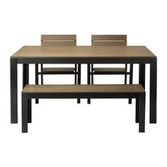 FALSTER table, bench and 2 armchairs, brown, black