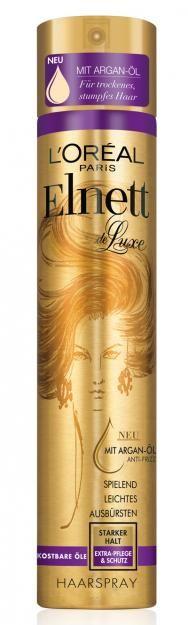 """Superspray: """"Elnett de Luxe Kostbare Öle"""" von L'Oréal Paris, ca. 4 Euro, ab April"""