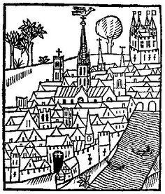 Medieval Woodcuts Clipart Collection 4. View of a town; from Gringore, Castell of Laboure, London, about 1505. oktouse