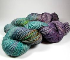 Hand Dyed Yarn Worsted Teal Blue Purple Aqua Green